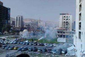 سقوط قذائف النابالم الحارق على دمشق